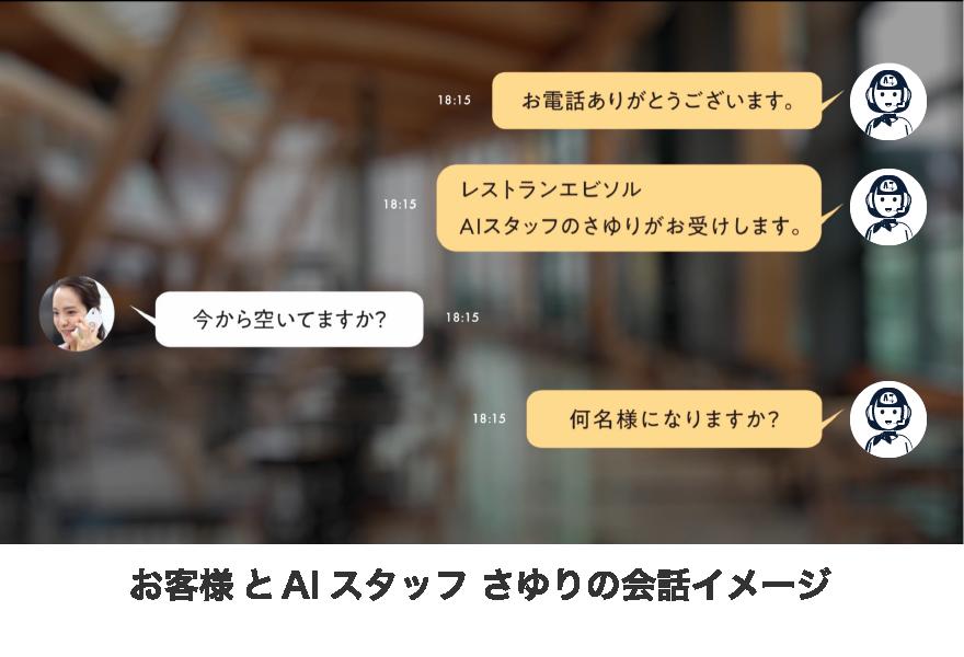 """お客様とAIスタッフ""""さゆり""""の会話イメージ"""